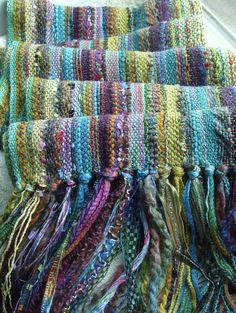 Handwoven Scarf Morning Moon Woven Scarf Wrap by barefootweaverMaterials: hand dyed rayon, hand dyed cotton, rayon, cotton, polyester, acrylic, tencel, bamboo, silk, novelty knitting yarns, soft wool blend, wool silk