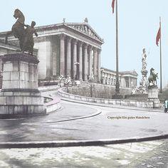 Wiener #Parlament #1915, #alteFotos #koloriert #FineArtPrint #rotweißrot
