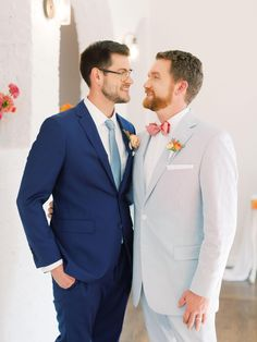 Allow This Modern, Ombré, Citrus Wedding Inspiration to Instantly Brighten Your Day! | #lgbtweddings #lgbtqwedding #samesexwedding #groomssuit #bluesuit #greysuit Apricot Wedding, Orange Wedding, Wedding Colors, Gold Wedding, Be My Groomsman, Groom And Groomsmen, Groomsmen Fashion, Fashion Suits, Mens Fashion