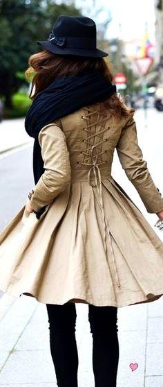 swing coat corset back, fall colors, fall coat