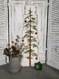 """This unique piece is 36"""" x apprx. 12"""" This Christmas tree with red bulbs on a white-washed background is perfect for a personalized farmhouse touch to your Christmas decorating. Perfect for that skinny wall space or just lean it against the wall. ***Can now be ordered with different colored bulbs!!******* (Just leave Wooden Christmas Decorations, Farmhouse Christmas Decor, Primitive Christmas, Christmas Signs, Rustic Christmas, Christmas Art, Christmas Ornaments, Farmhouse Decor, Porch Christmas Tree"""