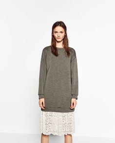 Image 2 of CONTRAST FABRIC LACE DRESS from Zara