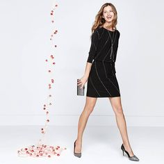 """This black dress is done with silver and gold heat-set studs for an of-the-moment metallic shine. The blouson silhouette can be easily dressed up or down with a simple change of heels to flats. Three-quarter sleeve black embellished blouson dress Back V-neck; smocked waist Lined Regular: Approx. 35"""" from shoulder; 3"""" above the knee Petite: Approx. 33 5/8"""" from shoulder Polyester/spandex. Machine wash cold. Imported  dress female Black whbm flashbackfriday dresses & skirts #flashbackfriday…"""
