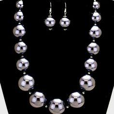 "Chunky Pearl Necklace Chunky Pearl Necklace. Navy Blue. NECKLACE SIZE : 17"" + 3"" L  DECOR SIZE : 1 1/4"" L . EARRINGS SIZE : 1 3/4"" L Jewelry Necklaces"