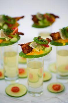 Deconstructed Gazpacho Shooter | Picturesque Photos by Amanda | Cafe 7 #bridesofok #wedding #weddinginspiration #foodanddrink