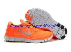 00GC77 Womens Nike Free Run 3 Vivid Orange Reflect Silver Pure Platinum Volt $44.69 #Nike Free Clearance