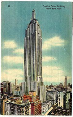 #1944 #NYC #NY #City #New #York City #Empire #State #Building #Linen #Vintage #Postcard #ephemera #evt #etsyvintageteam #vwav by OakwoodView