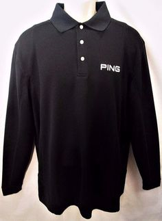 PING Performance Men's Golf Polo Size Large Long Sleeve Black Shirt w/ Logo  #Ping #PoloShirt