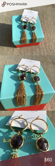 "Kate Spade Gold Stone and Tassel Drop Earrings NWT Beautiful and never worn. Also selling the matching necklace in my closet.  Create a little blue jean elegance with these cascading stone and tassel linear drop earrings designed by kate spade new york in gold-tone mixed metal. Approximate drop: 5"". kate spade Jewelry Earrings"