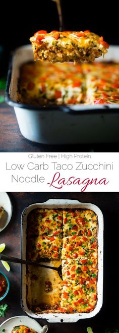 Mexican Zucchini Lasagna - This lasagna has all the cheesy, saucy taste but without the carbs and calories! It's a healthy, gluten free and protein-packed crowd-pleasing dinner that's only 280 calories! Make-ahead and freezer friendly too!   http://Foodfaithfitness.com   /FoodFaithFit/