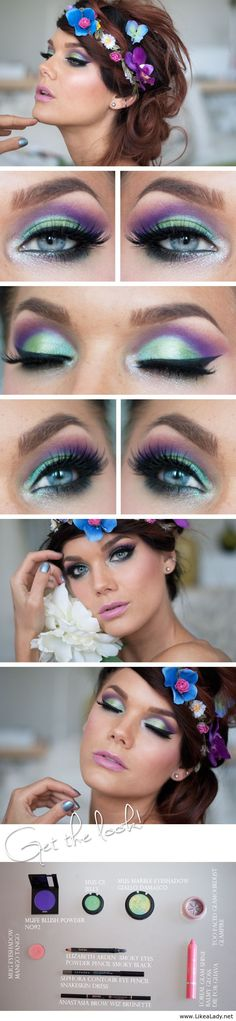 Beautiful makeup with purple and blue