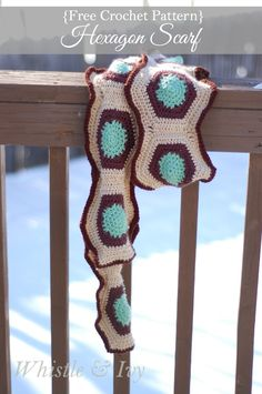 Free Crochet Pattern -  Hexagon Motif Scarf. This fun geometric scarf is made of hexagons and pieced together, very fun for fall and winter. {Pattern by Whistle and Ivy}