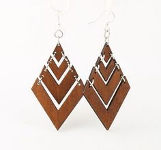 Chandelier Rand Pyramid Laser Cut Wood Earrings - Cut from Sustainable Reforested Wood. $12.95, via Etsy.