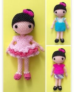 I re-made my ballerina Xiao Xi doll and made two more outfits for her.  https://www.etsy.com/listing/486033700/rainbow-loom-xiao-xi-dress-up-doll #rainbowloom #loomigurumi #rainbowloomdoll #loomigurumidoll #doll #ballerina