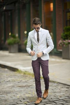 Men's Tan Leather Oxford Shoes, Burgundy Chinos, Grey Blazer, White Dress Shirt, and Black Tie