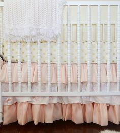 Love this soft coral look! Pretty crib skirts are so hard to find, and cost hundreds on etsy for custom orders :(