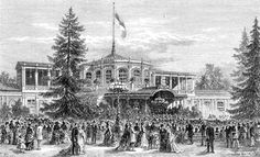 Pavlovsk train station, Vauxhall Pavilion, by unknown artist in 1800's. It  was used to draw customers to Russia's 1st  railroad. After the death of Tsar Paul I Petrovich Romanov (1754-1801) Russia & his wife, the Pavlosk estate was given to their 10th child Grand Duke Michael Pavlovich Romanov (1798-1849). The railway, built by Franz Anton von Gerstner, was opened between St. Petersburg & Pavlovsk in 1837. The train station was used as a concert hall & celebrities like Johann Strauss…