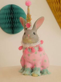 What a fun way to decorate a bunny for an original party decoration at a Bunny Easter Party!! Kids, I'm sure will have a blast decorating one themselves!! See more party ideas and share yours at CatchMyParty.com #catchmyparty #easterparty #easterbunny #partydecoration