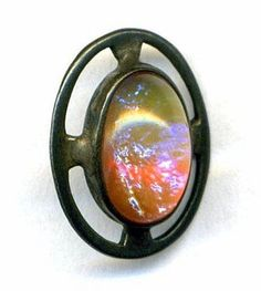 Antique / Vintage Button...Dragon's Breath Glass in Sterling