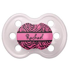 Personalized Girly Black Pink Zebra Print Pattern Pacifier