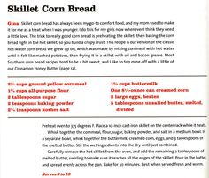 "Skillet Corn Bread | Gina's Quick Confetti Collards | Recipe from celebrity chef Pat Neely's new cookbook ""Back Home with the Neely's."" It's all good, old-fashioned soul food."