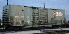 BCOL, British Columbia Railway 50' Double Plug and Sliding Door Boxcar, 5768 April 30th, 1990, Toronto, Ontario