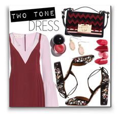 """""""two tone dress"""" by monykhaled ❤ liked on Polyvore featuring Marni, Salvatore Ferragamo, Aquazzura, Rossetto and Kendra Scott"""