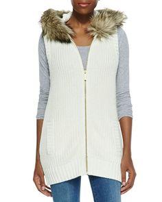 Faux-Fur-Trim Knit Vest