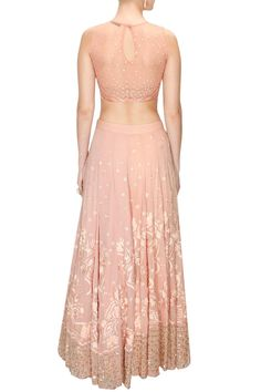 Peach thread and sequins embroidered lehenga set available only at Pernia's Pop-Up Shop. Ethnic Outfits, Indian Outfits, Peach Lehnga, Anarkali, Saree, Bridal Lehenga Online, Indian Party Wear, Traditional Fashion, Indian Ethnic Wear