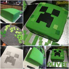 Homemade Minecraft Creeper Cake  #creeper #minecraft #birthday #cake