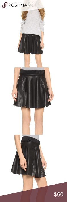 ✨HP✨Blank Denim Faux Leather Skirt Rounded hem gives this skirt lots of charm. Textured waistband gives a flattering shape while the exposed seams and zipper lend a contemporary feel. Gorgeous! The stretch waistband allows for this to fit sizes 25 through 27/28. 🎉Host Pick: Casual Cool🎉  🚫 Trades/🅿️🅿️ ✨ 100% Authentic 💵 Price Firm 💰 Bundle Discount 📬 Ships in 1-2 Days Blank NYC Skirts Mini