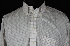 Burberry London Mens Long Sleeve White Plaid Casual Dress Shirt sz XLarge #BurberryLondon #ButtonFront
