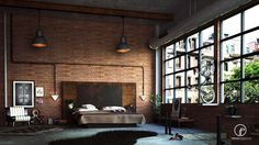 Brick is beautiful! This bedroom makes the classic brick walls special by utilizing black conduit as a faux headboard.