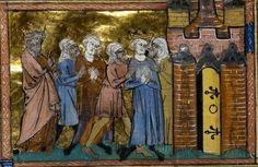1248-54.Seventh Crusade:April 1250.Louis IX of France (Saint Louis) Louis IX fait prisonnier. Al-Muazzam Turanshah.Guillaume de Tyr,Histoire d' Outremer,1337,BNF,Fr.9083.