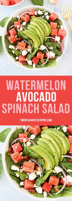 Watermelon Avocado Spinach Salad with Poppy Seed Dressing is the BEST summer salad recipe! This easy spinach salad is made with watermelon, avocado, almonds, red onion, feta, and a simple poppy seed dressing. It goes great with any summer meal.