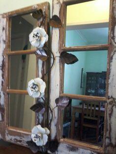 Janelas reaproveitadas como moldura e espelho  Mil925 Atelier  https://www.facebook.com/pages/Mil925-Atelier/578908522225983