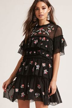 Embroidered Ruffle Dress | Forever 21