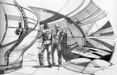 Concept art by syd mead for the forbidden planet remake that never happened Storyboard, Le Manoosh, Classic Sci Fi Movies, Spaceship Interior, Futuristic Interior, Futuristic Design, Syd Mead, Sci Fi Fantasy, Sci Fi Art