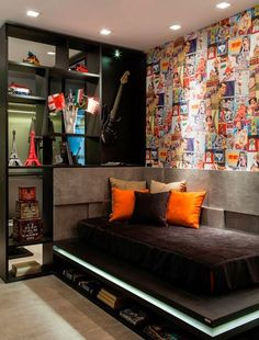 In this article we will give you 123 ideas for the teenage room . How to create an interior at once original, impressive but above all functional? For many parents it is not an. Home Bedroom, Bedroom Decor, Music Bedroom, Bedroom Themes, Bedroom Sets, Small Bedroom Designs, Teen Room Designs, Boys Room Design, Bedroom Small