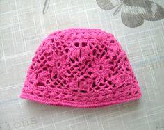 Crochet hot pink Baby girls HAT, flower pattern hand-knitted crochet hat for Newborn Girl, NEWBORN - 9 Months, handmade hat by ramutez on Etsy