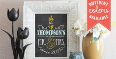 """Want a print to remember your """"I Do's""""? Celebrate your """"BIG"""" day, each day with this modern """"Mr. & Mrs."""" typography print!Our8x10 Personalized """"Mr. & Mrs."""" Chalkboard Print is perfect for your home decor. Also makes a great gift! Print is unframed & unmated. Printed on Kodak Professional Endura Supra Matte photo paper.>>>> 10 Different Options to Choose From <<<<1. Plain Jane - Chalkboard2. Plain Jane - White3. Yellow & Blue - ..."""