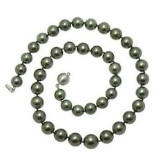 """White Gold """"A+"""" Quality Pearl Natural Color Tahitian Necklace Pearl Necklace, White Gold, Beaded Bracelets, Pearls, Color, Beauty, Jewelry, Natural, String Of Pearls"""