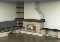 Chimeneas Decor, Living Room, House, Tv Wall Unit, Home, Corner Fireplace, Tv Room, Home Buying, Fireplace