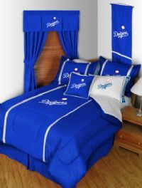 Los Angeles Dodgers Bedding in official team colors of Dodgers blue and white with logo for the die hard MLB LA Dodgers baseball team fan.