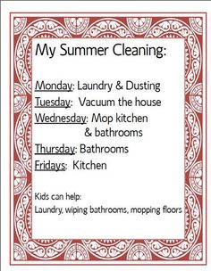 Organising ideas and cleaning schedule for 15-min cleaning.