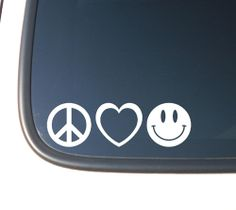 But in green - PEACE LOVE & HAPPINESS Vinyl Decal Car  by OffTheWallVinylDecor