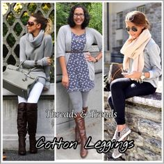 Cotton Leggings 3 Colors Comfy cotton leggings in 3 must have basic colors black, heather grey & white. Made of cotton and spandex. Size S, M, L, XL Threads & Trends Pants Leggings