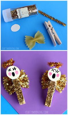 Bow tie noodle angel craft for kids this Christmas!