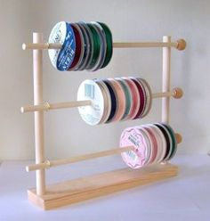 A ribbon holder made out of dowels.