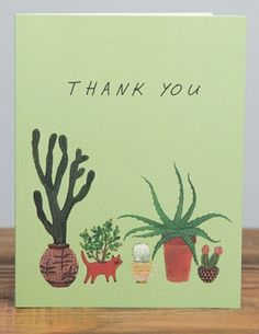 Cactus Thank You | Red Cap Cards | Illustrated greeting card by Becca Stadtlander